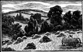 wood-engraving original print: June for Time and Tide calendar